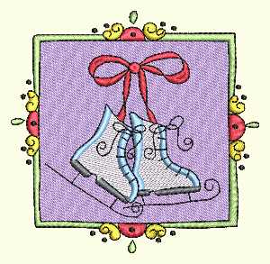 #167 Christmas Stamp Ice Skates
