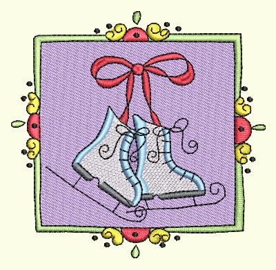 Christmas Stamp Ice Skates